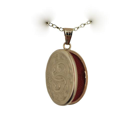 9ct Gold 26x19mm flat oval hand engraved Locket on a belcher chain