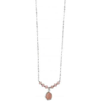 Beginnings Jade Drop Necklace - Pink/Silver