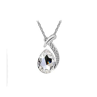 Womens Clear Crystal Diamante Pendant Necklace Teardrop Stone