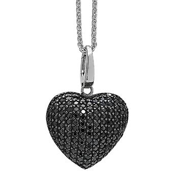 Burgmeister  women's necklace and pendant 925 sterling silver rhodanized, plait chain 45cm heart pendant zirconia black JBM1040-421