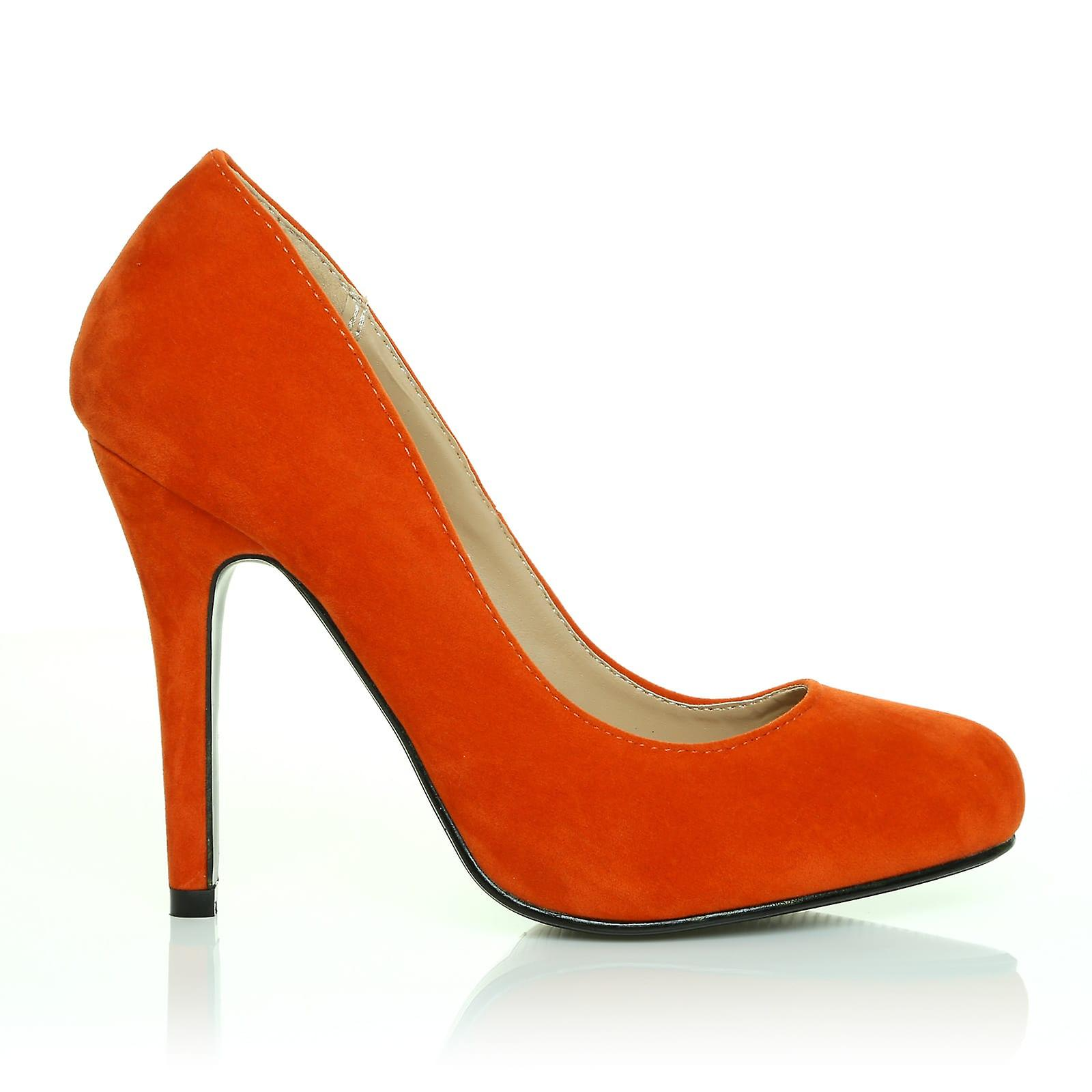 HILLARY Orange Faux Classic Suede Stilleto High Heel Classic Faux Court Shoes ae9dee