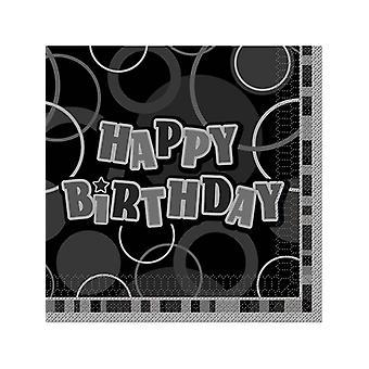 Anniversaire Glitz noir & argent Happy Birthday - déjeuner NapkinsÂ