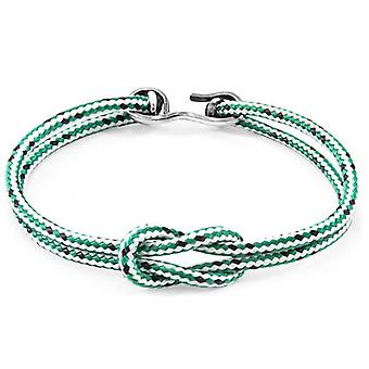 Anchor and Crew Foyle Silver and Rope Bracelet - Green Dash