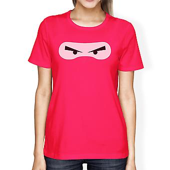 Ninja Eyes Womens Hot Pink Round Neck Cotton T-Shirt For Halloween