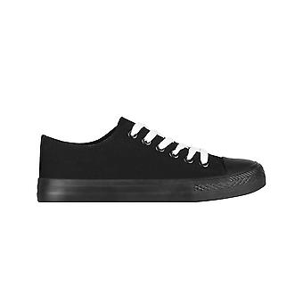 KRISP  Women Plain Canvas Low Top Trainers Fashion Lace Up Sneaker Pumps Flat Shoes 3-8