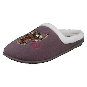 Ladies Freestep Cat Design Mule Slippers KV761