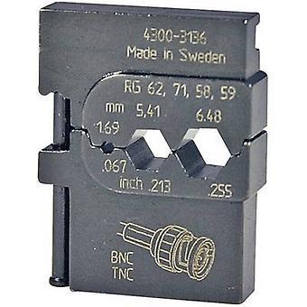 Crimp inset Coax connector RG223 /U, RG210, RG142 B/U, RG108 A/U, RG71, RG62 A/U, RG62, RG59 B/U, RG59, RG58 C/U, RG58, 1695 Pressmaster 4300-3136 4300-3136