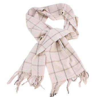 Bassin and Brown Snow Check Cashemere Scarf - Cream/Grey