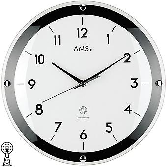 AMS wall clock 5906 radio domed mineral glass