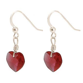2.5 cm ladies - earrings - 925 Silver - heart - Red-