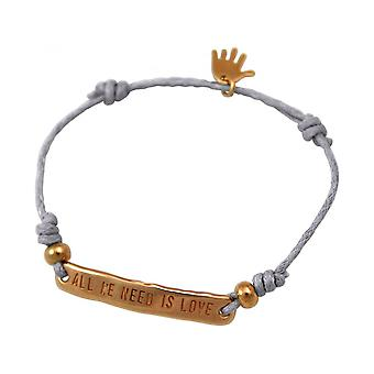 Women - bracelet - engraved - ALL WE NEED IS LOVE - rose gold plated - light grey
