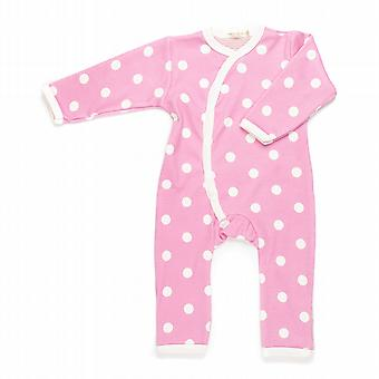 Spotty pink baby grow