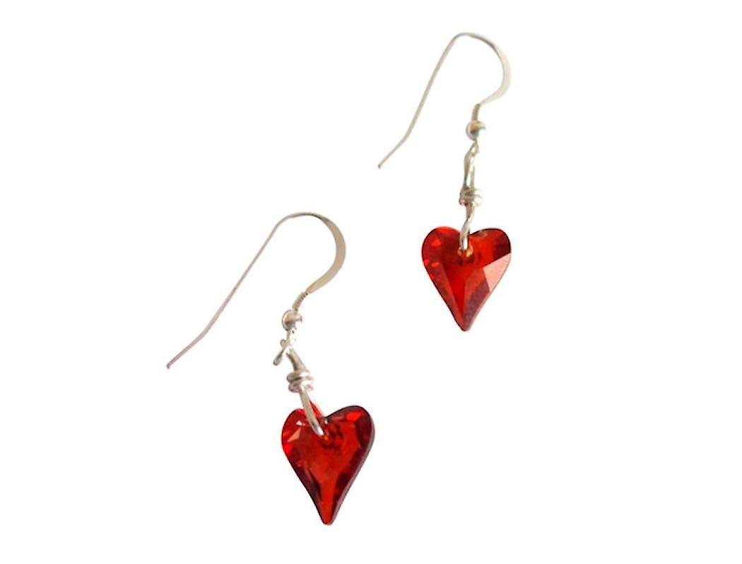 Femmes Herz Ohrbaguee 925 argent Wild Heart rouge Magma rouge MADE WITH SWAROVSKI ELEHommesTS® 2 cm