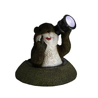 Funny Solar Eyes Middle Finger Groundhog LED Accent Light Statue