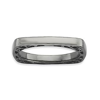 2.25mm Sterling Silver Ruthenium plating Stackable Expressions Polished Black-plate Square Ring - Ring Size: 5 to 10