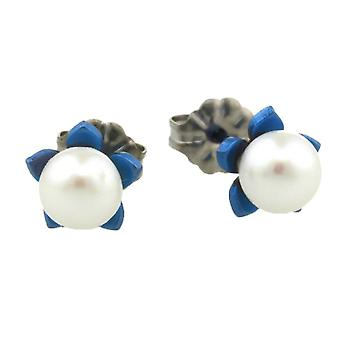 Ti2 Titanium Small Flower and Pearl Stud Earrings - Navy Blue