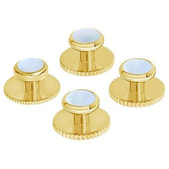 David Van Hagen Set of Five Mother of Pearl Insert Dress Studs - Gold/White