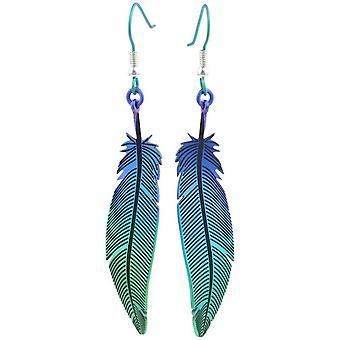Ti2 Titanium bos Feather Drop Oorbellen - groen