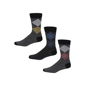 Ben Sherman Men's 3 Pack Everyday Calf Socks Grey Red Blue Argyle Print Olympia