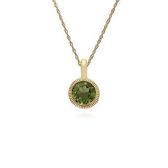 Gemondo ct 9 amarillo oro Peridot solo piedra redonda Milgrain colgante en cadena 45cm