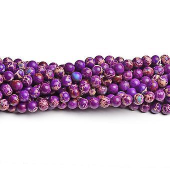 Jasper 60 + fioletowy wrażenie Strand 6mm barwiona zwykły koraliki okrągłe CB41815-2