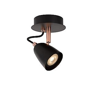 Lucide Ride-LED Modern Round Metal Copper And Black Ceiling Spot Light