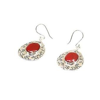 The Olivia Collection Deep Coral Large Solid Pear Shaped Drop Earrings