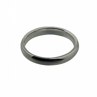 18ct White Gold 3mm plain Court shaped Wedding Ring Size I