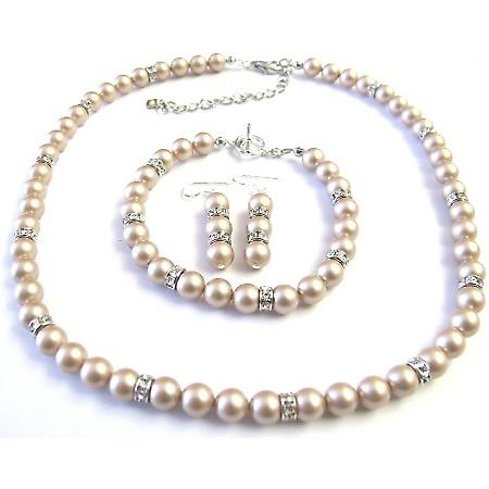 Bridal Champagne Pearls Jewelry Simulated Diamond Spacer Necklace Sets