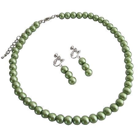 Clip On Earrings Wedding Flower Girl Green Pearls Jewelry