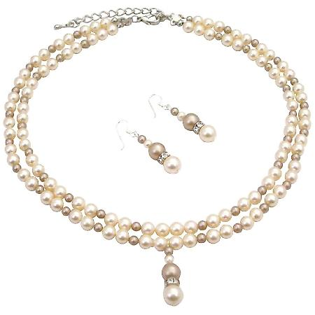Stunning Mother's Day Gift Ivory Pearls Double Stranded Jewelry