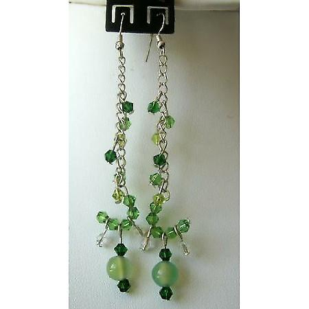 Stylish Earrings Simulated Lite & Dark Green Crystals Dangling Earring