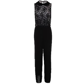Women's Celeb Inspired Black Nude Beaded Collar Floral Lace Flare Ladies Jumpsuit