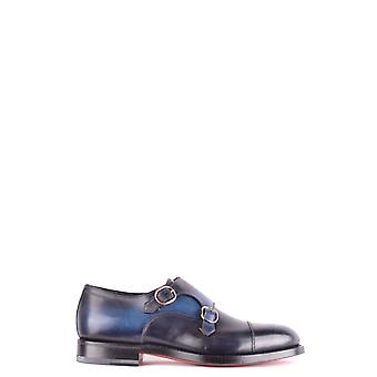 Santoni Blue Leather Monk Strap Shoes