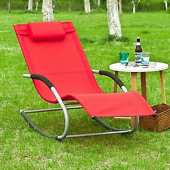 SoBuy Garden Rocking Deck Chair Recliners with Footrest,Red,OGS28-R