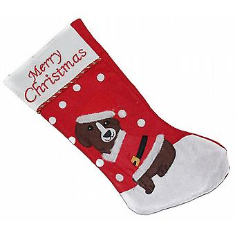 48Cm Felt Christmas Stocking For Pets Treats Decoratoin Snowy Cute Santa Dog (WSL630507DG)