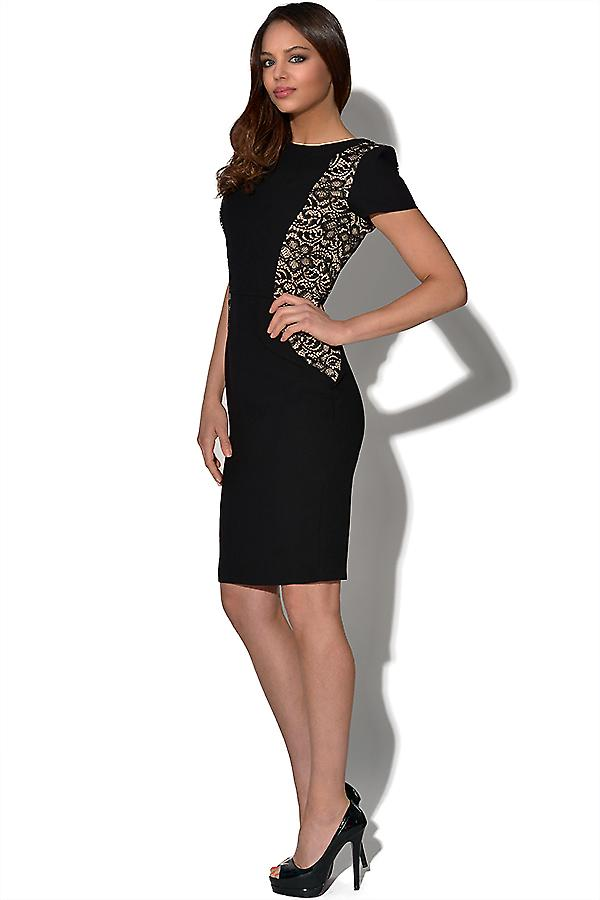 Pappersdockor Black Lace Panel Dress
