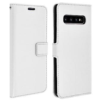 Vintage Series, flip wallet case for Samsung Galaxy S10 Plus - White