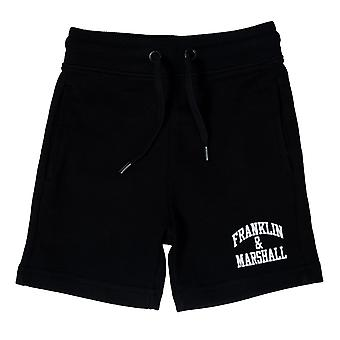 Junior Boys Franklin And Marshall Fleece Logo Jog Shorts In Black- Ribbed