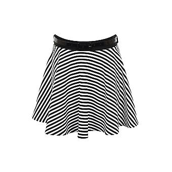 Mesdames Noir Blanc Monochrome Stripe Belted Flare Mini Skater Short Skirt