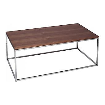 Gillmore Space Walnut And Silver Metal Contemporary Rectangular Coffee Table