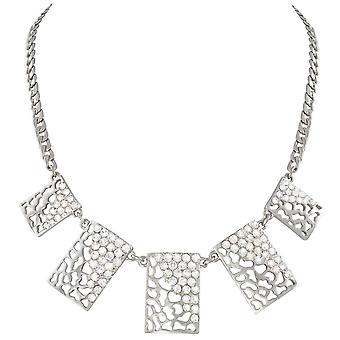 Eternal Collection Safari Clear Crystal Animal Print Silver Tone Statement Necklace