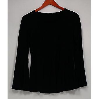 H di Halston Women's Top XXS Scoop Neck Bell Sleeve Nero A297898