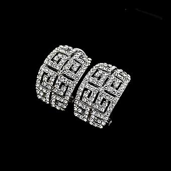 18K White Gold Plated Stellux Austrian Crystals Maze Style Earrings, 1.3cm