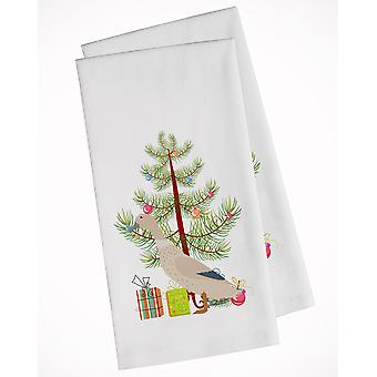 West Harlequin Duck Christmas White Kitchen Towel Set of 2