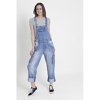 Daisy womens denim dungarees - faded