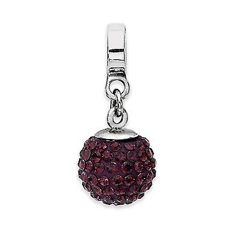 925 Sterling Silver Polished Reflections June Crystal Ball Dangle Bead Charm