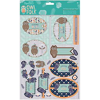 Papermania Owl Folk A4 Decoupage Pack-Older & Wiser PM169126
