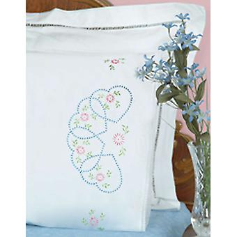 Stamped Pillowcases With White Lace Edge 2 Pkg Starburst Of Hearts 1800 33