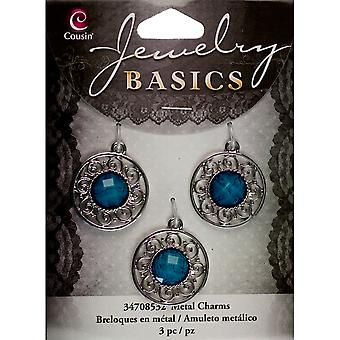 Jewelry Basics Metal Charms Silver Turquoise Filigree 3 Pkg Jbcharm 8532